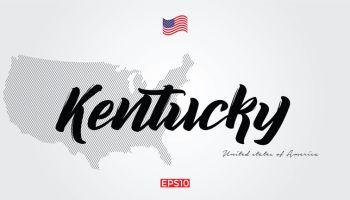 USA state name vector word art for Kentucky and USA Map and flag