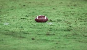 American football on football field