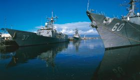 US Navy ships moored in Pearl Harbor