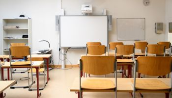 Empty Chairs And Tables At Classroom